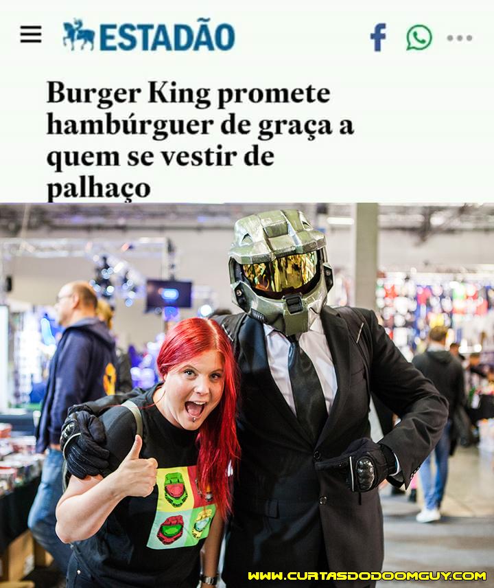 Promoção do Burger King pra quem gosta de fazer papel de palhaço