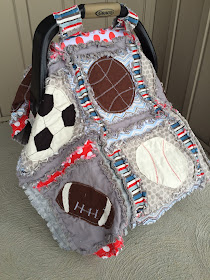 Sports Rag Quilts and Car Seat Tents ~ With Baseball, Soccer, Football, and Baseball Appliques