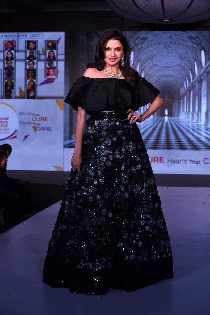 Bollywood Actress Bhagyashree Stills In Black Dress