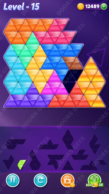 Block! Triangle Puzzle Champion Level 15 Solution, Cheats, Walkthrough for Android, iPhone, iPad and iPod