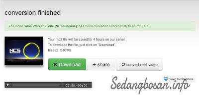 """Setelah Proses Pengubahan Video mp4 Menjadi mp3 Selesai, Sobat """"klik download"""""""