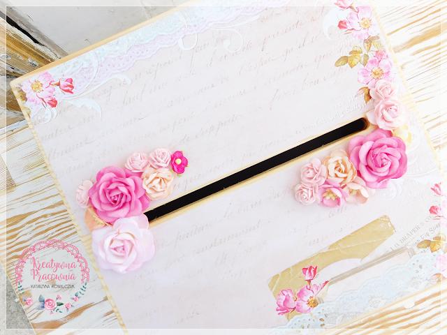 pudełko na koperty, drewniane, ręcznie zdobione, scrapbooking, handmade