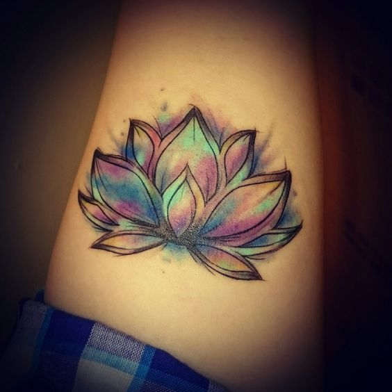 Colorful Lotus Flower Tattoo For Men