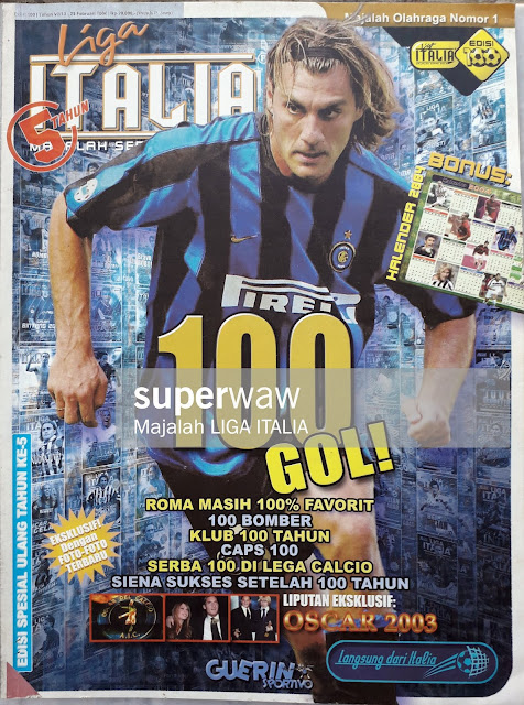 CHRISTIAN VIERI OF INTER MILAN ON MAGAZINE COVER