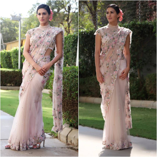 Amyra Dastur in Abhishek Verma sari for Manasuku Nachindi promotions.