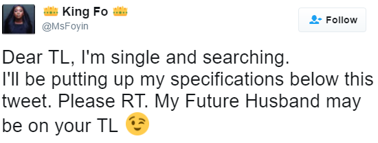 Single and searching Nigerian lady list the requirements of her dream man on twitter