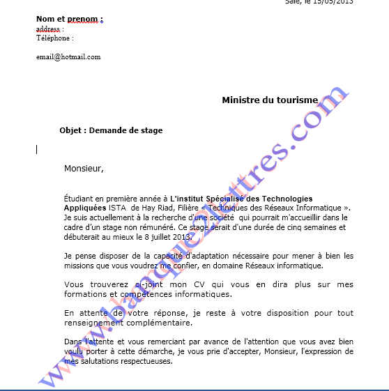 lettre de motivation pdf ofppt