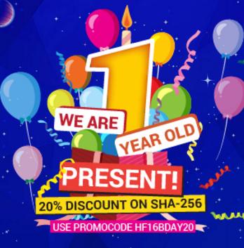 شارك الان HashFlare احتفاله بعيده الاول واحصل على كوبون 20% مجانا