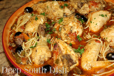 Chicken Cacciatore, an Italian-American comfort food meal, also known as Hunter's Chicken, is made from a whole, cut up chicken, lightly dusted in flour and browned in hot oil, then slow braised in a light tomato sauce with onion, sweet bell pepper and mushrooms.