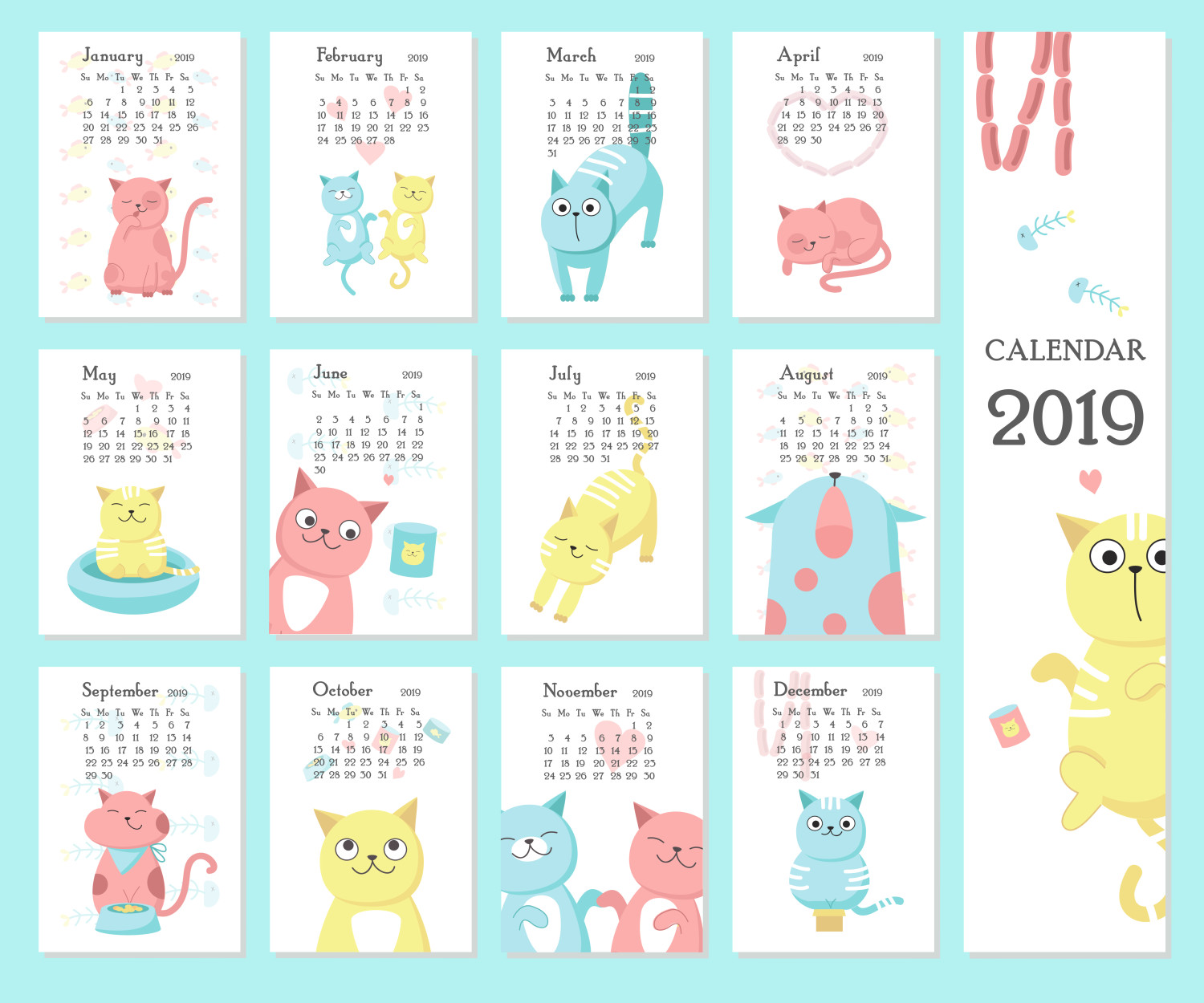 kalendar kucing cute