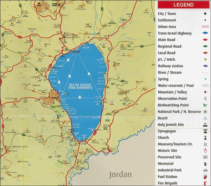 Plan des lignes maritimes du Lac de Tibériade