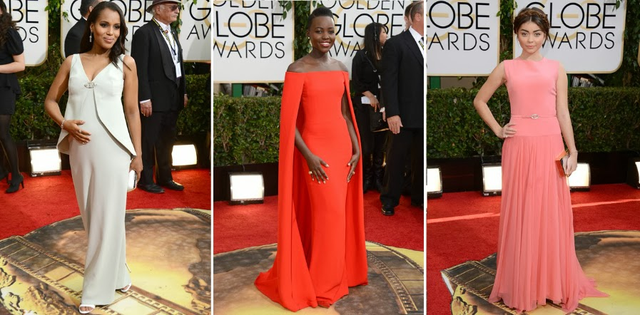 Golden Globes 2014, Red carpet, Best dressed list, celebrities, Couture, Gowns,  Kerry Washington, Kerry Washington pregnant, Balenciaga, Lupita Nyongo, Ralph Lauren, Caped dress, Sarah Hyland, Georges Hobeika,