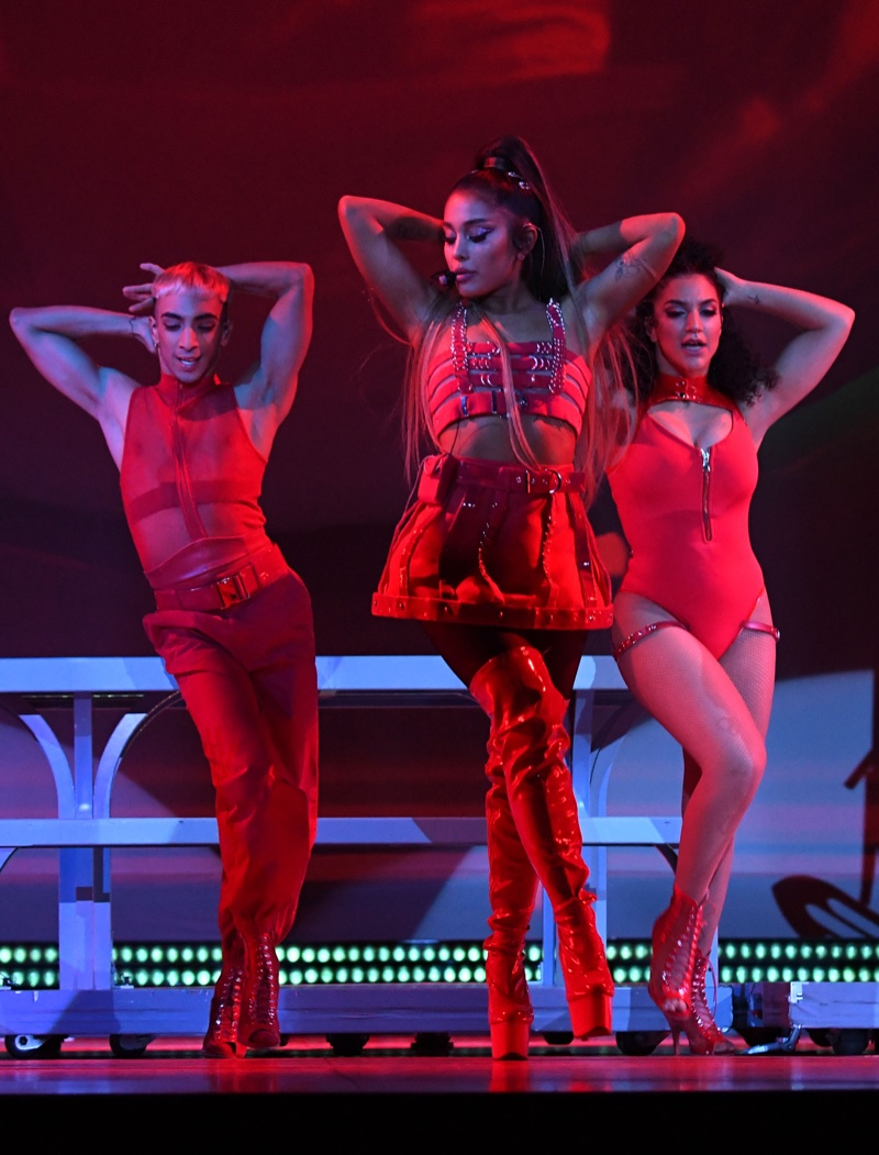 Ariana Grande wears bondage inspired look from Versace on Sweetener World Tour