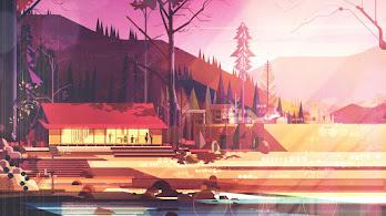 House, Abstract, Forest, Digital Art, Landscape, Illustration, 4K, #4.2061