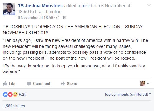 OMG!!! TB JOSHUA TAKES ANOTHER STEP AGAINST DONALD TRUMPS VICTORY – WHAT HE DID NEXT WILL SHOCK YOU