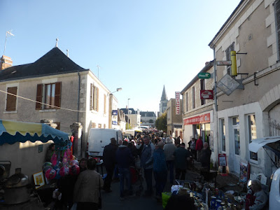 Street in Martizay on brocante day