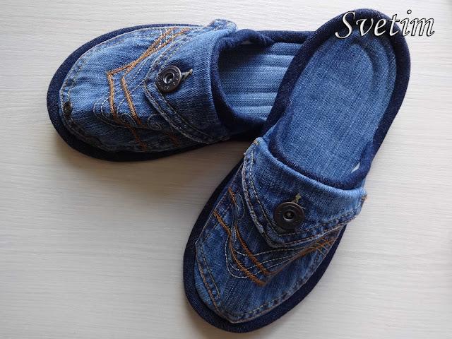 тапочки из джинса своими руками