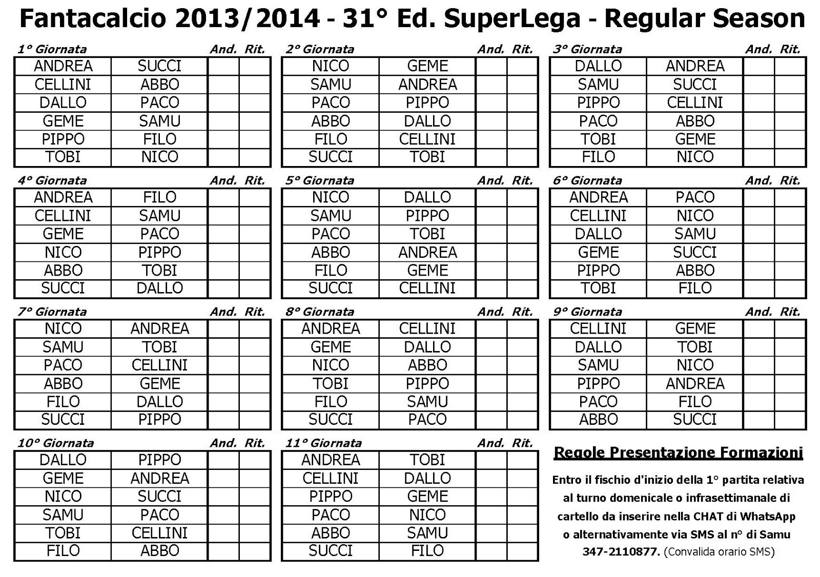 Calendario Fantacalcio.35 Fantacalcio Superlega 2017 2018 Superlega 13 14