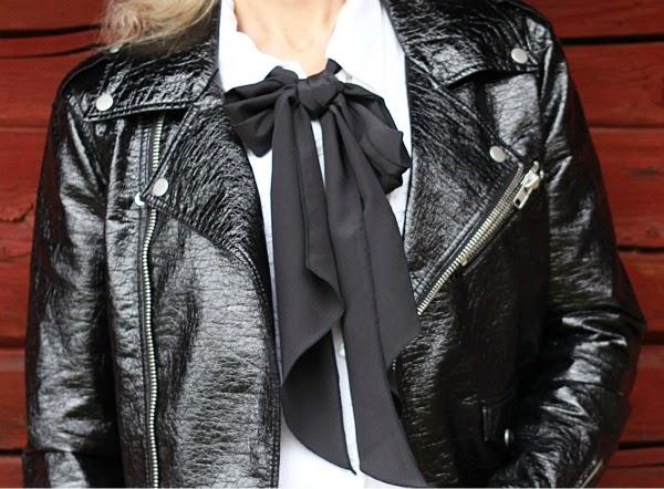 bow how to wear scarf biker jacket