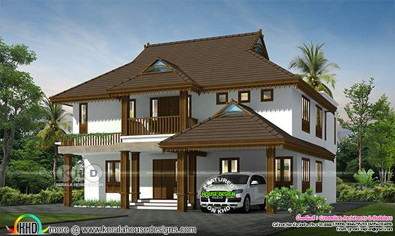 Traditional Kerala home rendering
