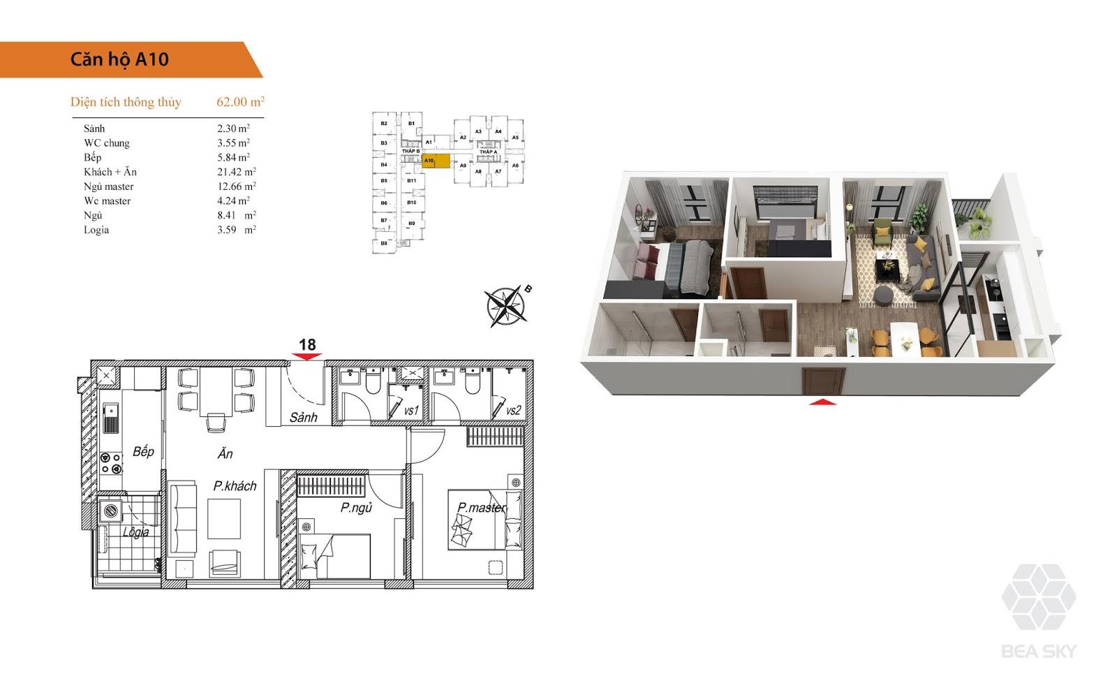 Thiết kế căn A10 chung cư Bea Sky Nguyễn xiển