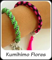 Pulsera Kumihimo de flores