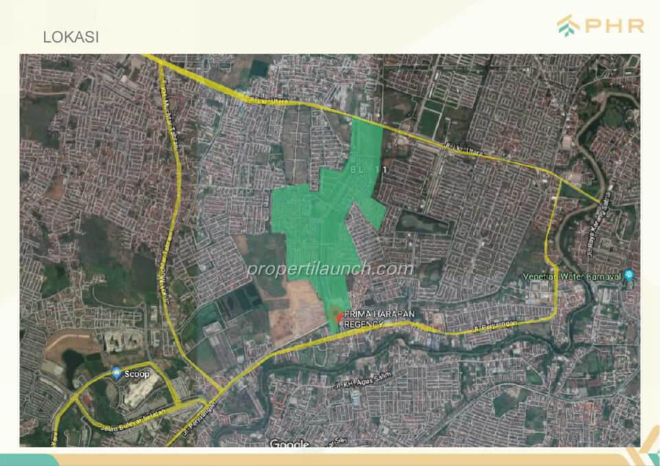Google Map Perumahan Prima Harapan Regency (PHR) Bekasi