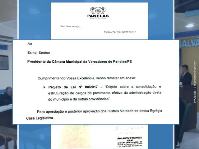 Projeto de Lei sobre a consolidação e estruturação de cargos de provimento efetivo da administração direta do município Panelas-PE