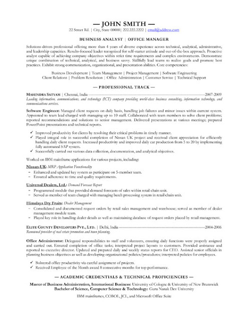 Project Administration Sample Resume