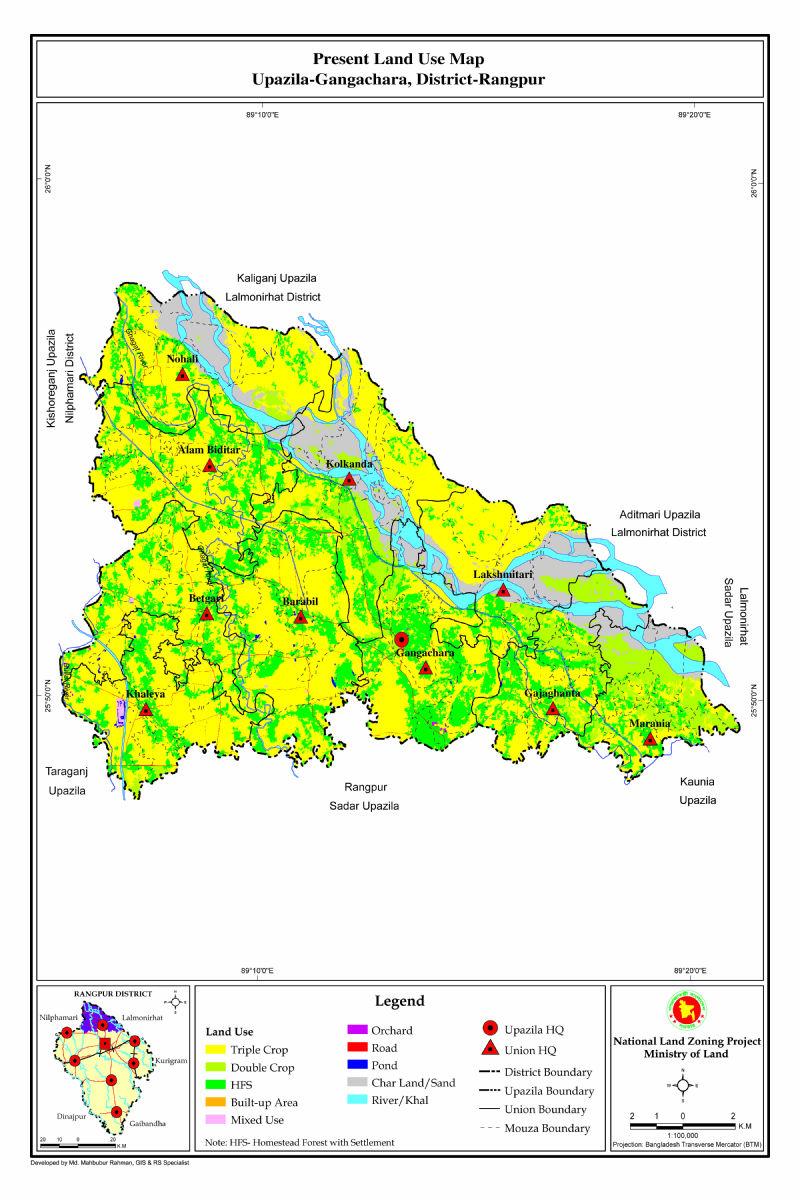 Gangachara Upazila Mouza Map Rangpur District Bangladesh