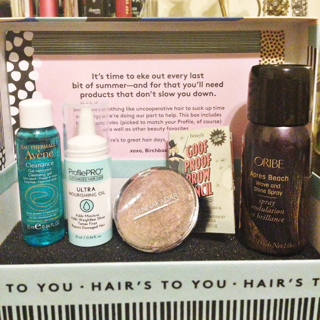 Birchbox August 2016 Avene Cleanance Gel ProfilePRO Ultra Nourishing Oil Manna Kadar Fantasy 3 in 1 Benefit Goof Proof Brow Pencil Oribe Apres Beach Wave and Shine Spray