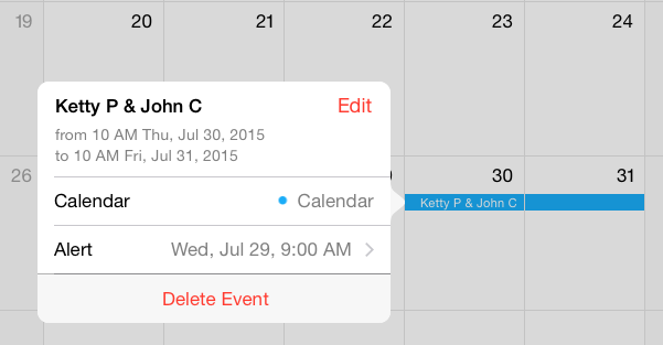 Event in iPhone's Calendar App - Detail