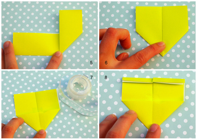 origami conversation heart corner bookmarks- great valentine's day craft for kids