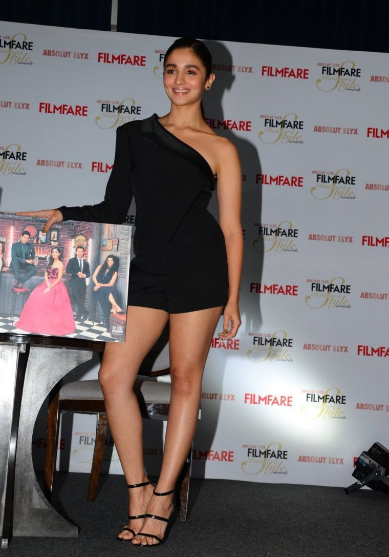 Alia Bhatt in Half Shoulder Mini Black Dress Spicy Pics