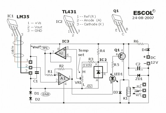 Temperature Controlled Relay Circuit Diagram