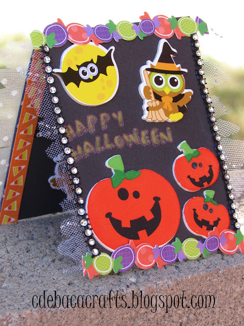 Happy halloween handmade card with pumpkins and stickers by CdeBaca Crafts.