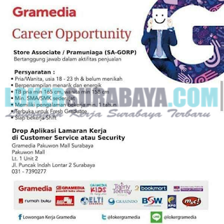 Career Opportunity at Gramedia Pakuwon Mall Surabaya May 2019