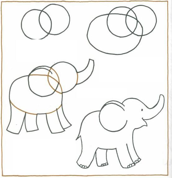رسم فيل للاطفال