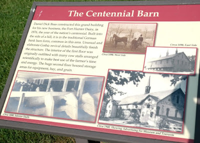 The Centennial Barn Historical Marker at Fort Hunter Park in Harrisburg Pennsylvania