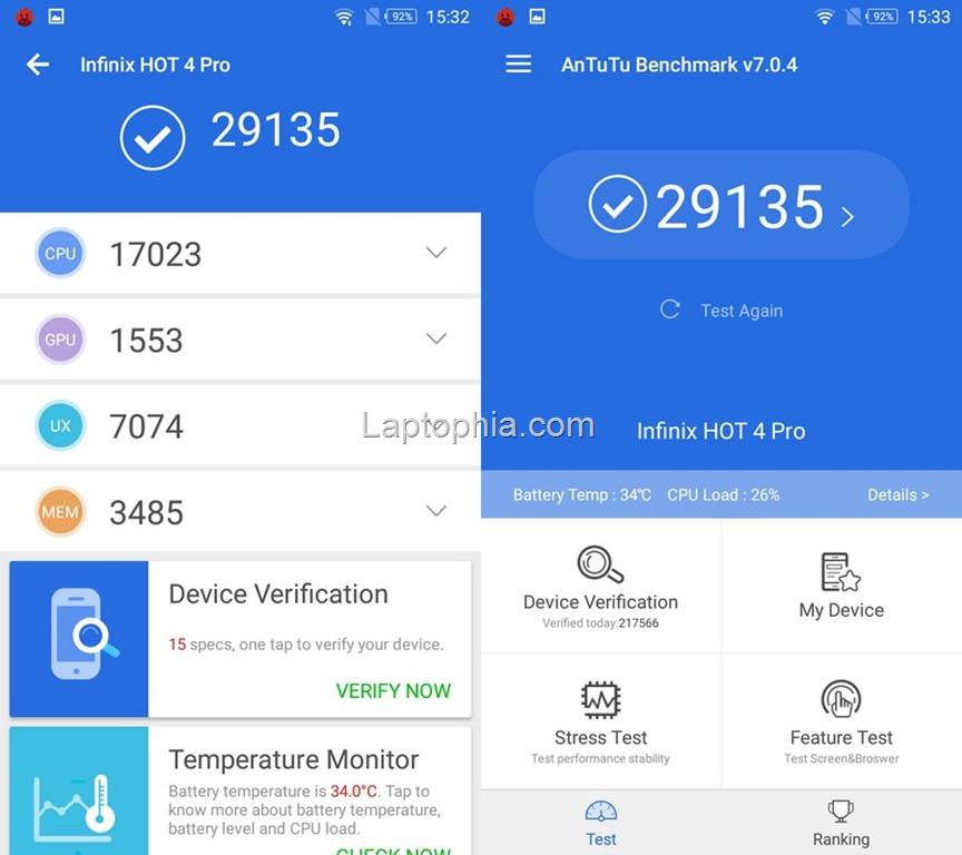 Benchmark AnTuTu v7 Infinix Hot 4 Pro X556