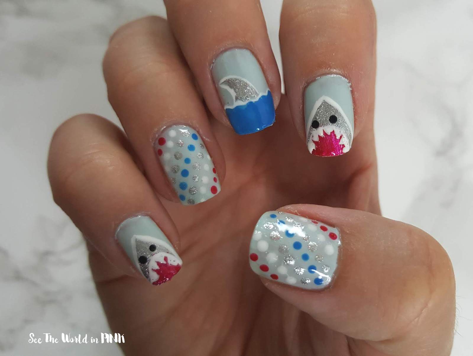Manicure Monday - Shark Week Nails!