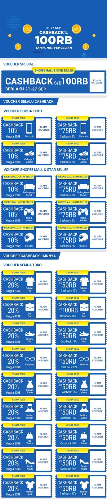 Shopee - Promo Cashback s.d 100 Ribu + Voucher Special (s.d 27 Sept 2018)