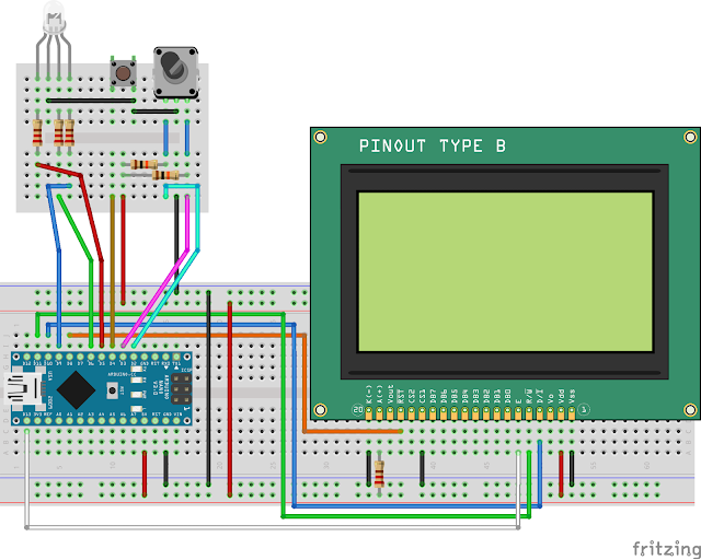 """Breadboard project of ST7920 """"RGB Controller"""" with rotary encoder"""