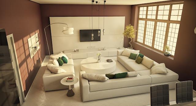 Desain Ruang Tamu dengan Sofa warna putih