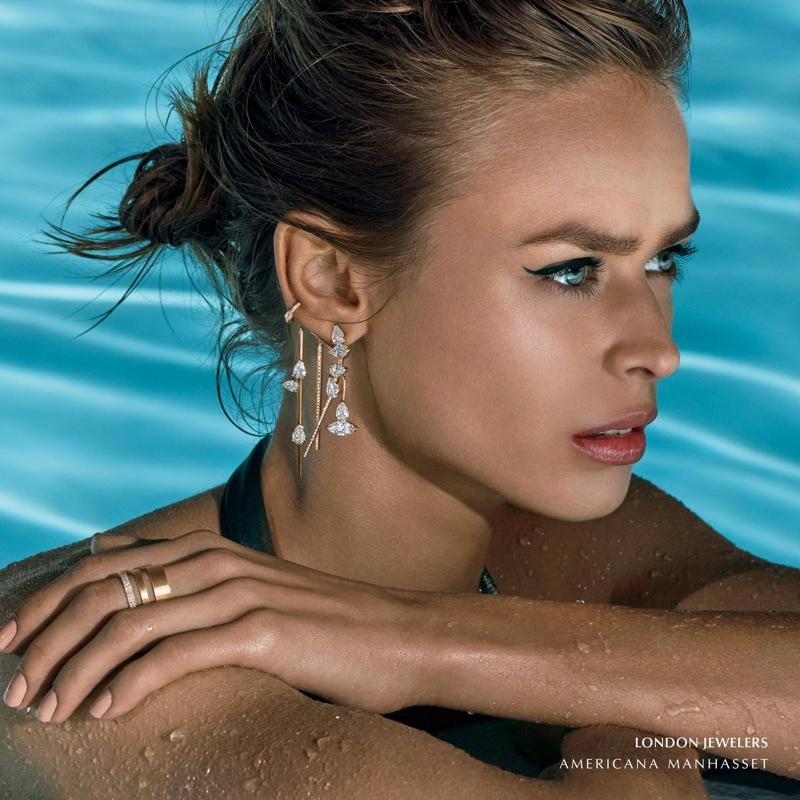 Birgit Kos wears London Jewelers earrings in Americana Manhasset's spring 2018 campaign