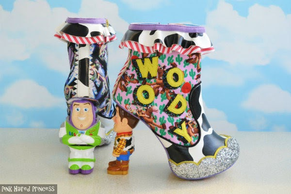 Toy Story Buzz ankle boot shown from behind, Woody boot sitting side on