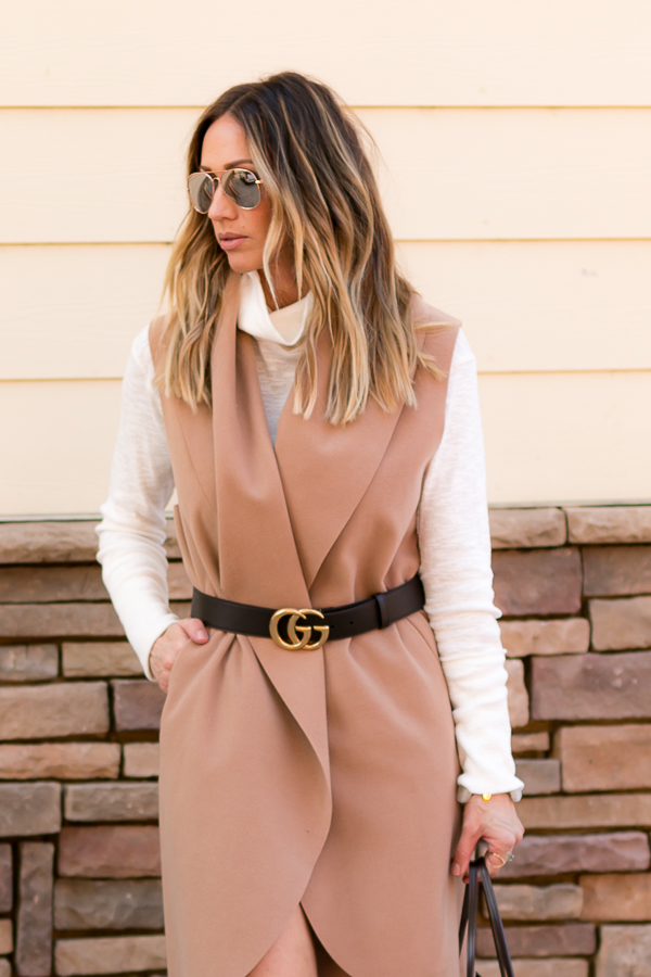 tan belted vest dress