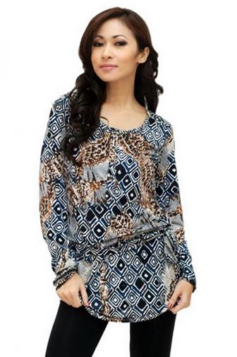 Contoh Baju Batik Atasan Lengan Panjang Modern