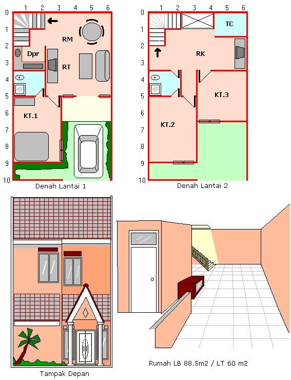 gambar denah rumah luas tanah 100 m2 3