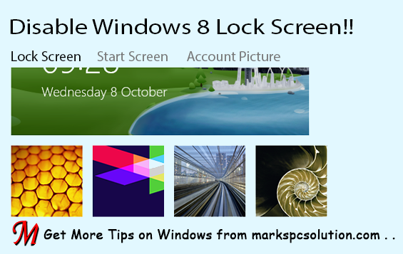 How to Disable Lock Screen in Windows 8